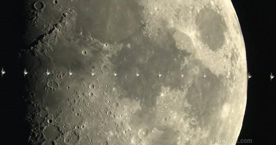 Izdevies nofilmēt starptautisko kosmosa staciju,  pārvietojoties mēness orbītā